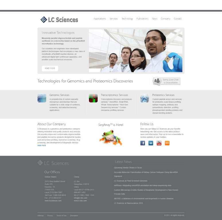 Web Design Client- LCSciences
